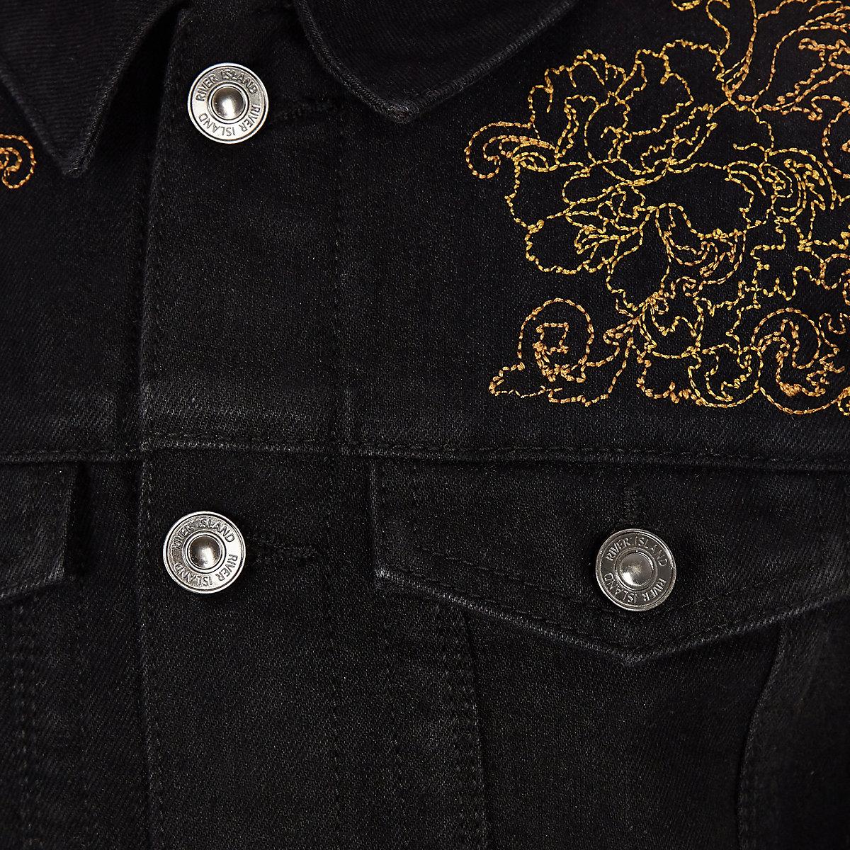 Ri 30 Boys Black Embroidered Denim Jacket Jackets Coats