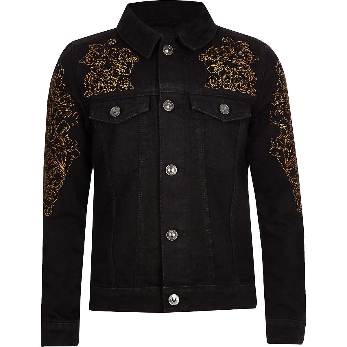 RI 30 boys black embroidered denim jacket