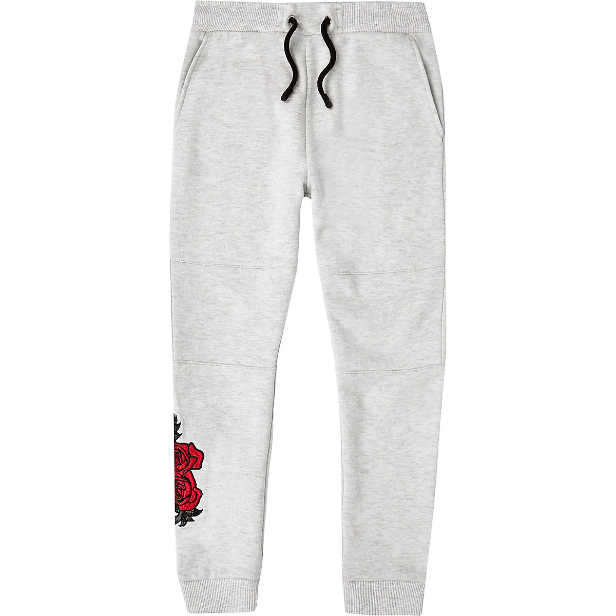 Boys grey rose embroidered joggers
