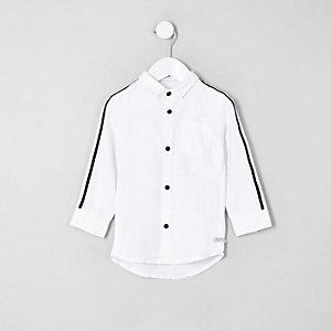 Chemise Oxford blanche à bandes latérales mini garçon
