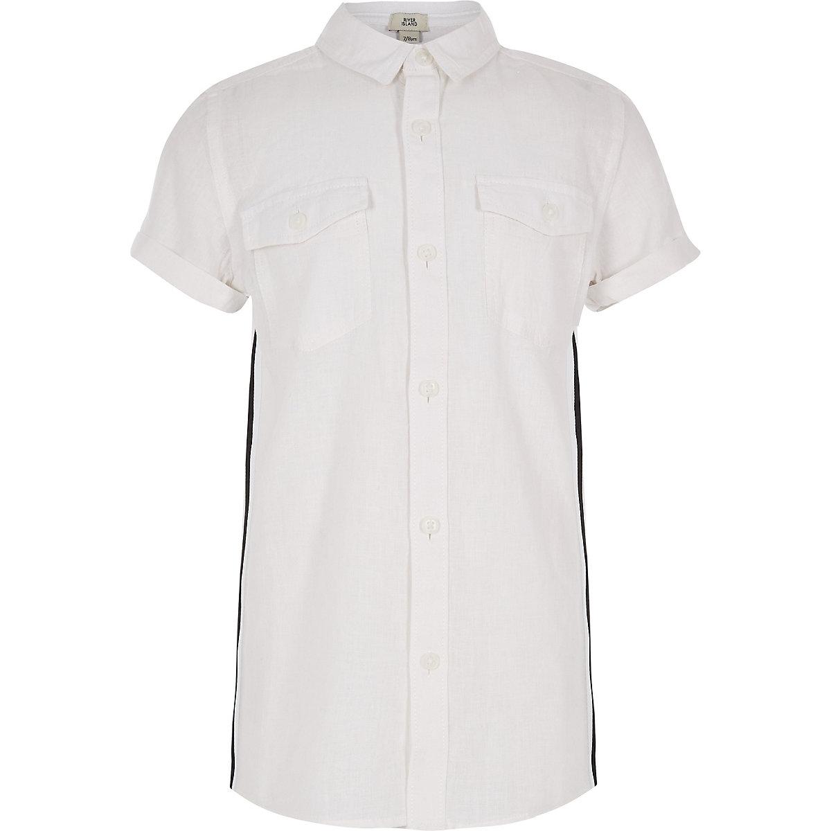 Boys white short sleeve tape shirt