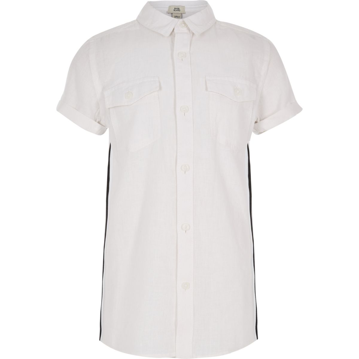 Boys white short sleeve tape shirt