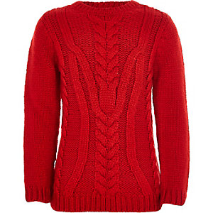 Boys red chunky cable knit jumper