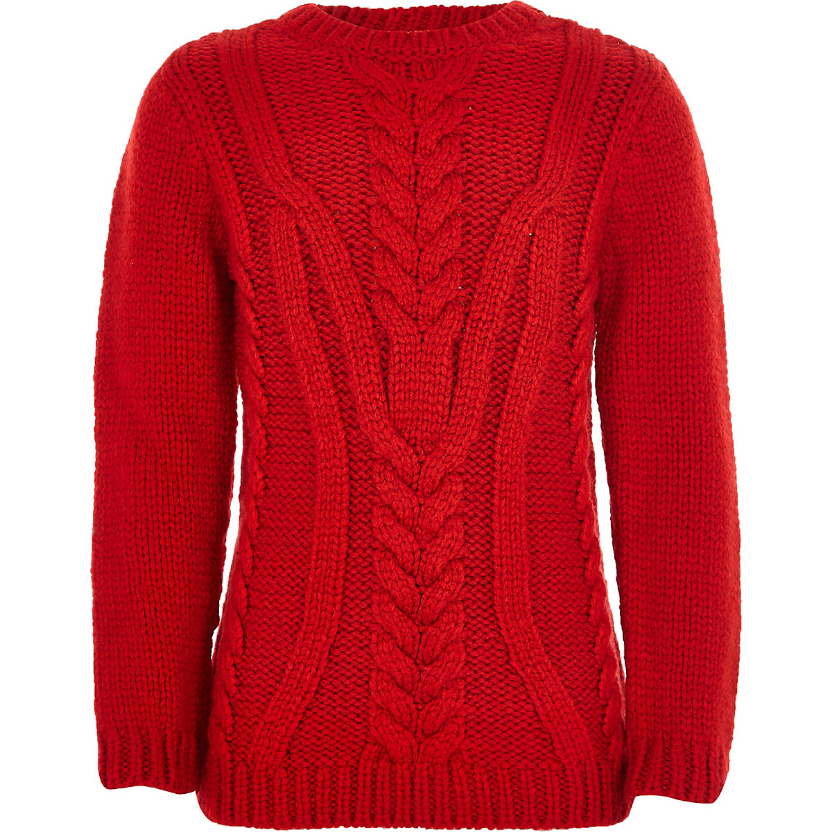 Boys red chunky cable knit sweater