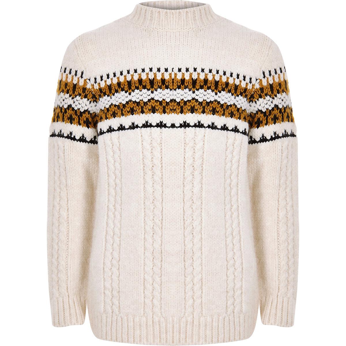 Boys ecru cable knit block high neck sweater