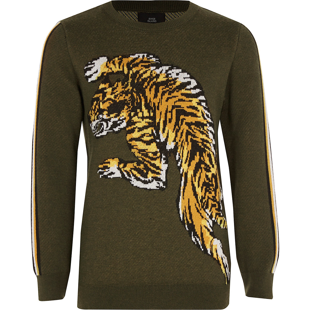 Boys khaki green tiger print jumper