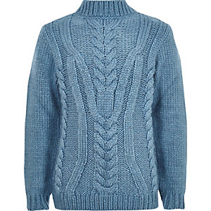 Boys blue turtle neck cable knit jumper