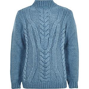 Blauwe gebreide pullover met kabelmotief en col voor jongens