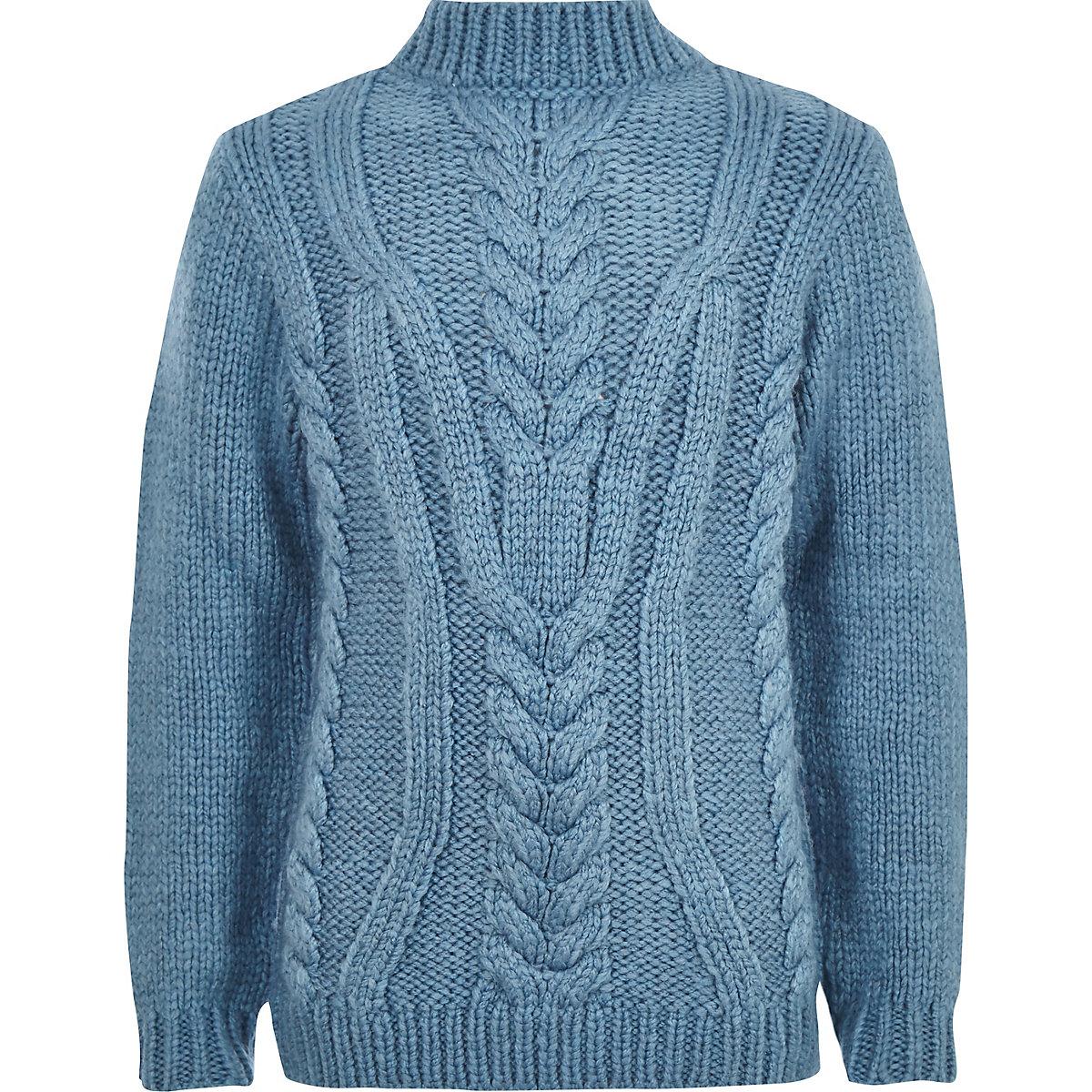 Boys blue turtle neck cable knit jumper