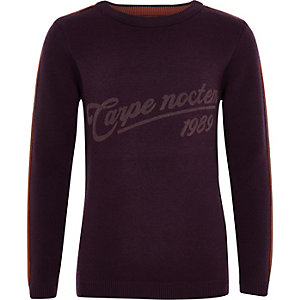Boys purple 'Carpe noctem' jumper