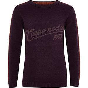Boys purple 'Carpe noctem' sweater
