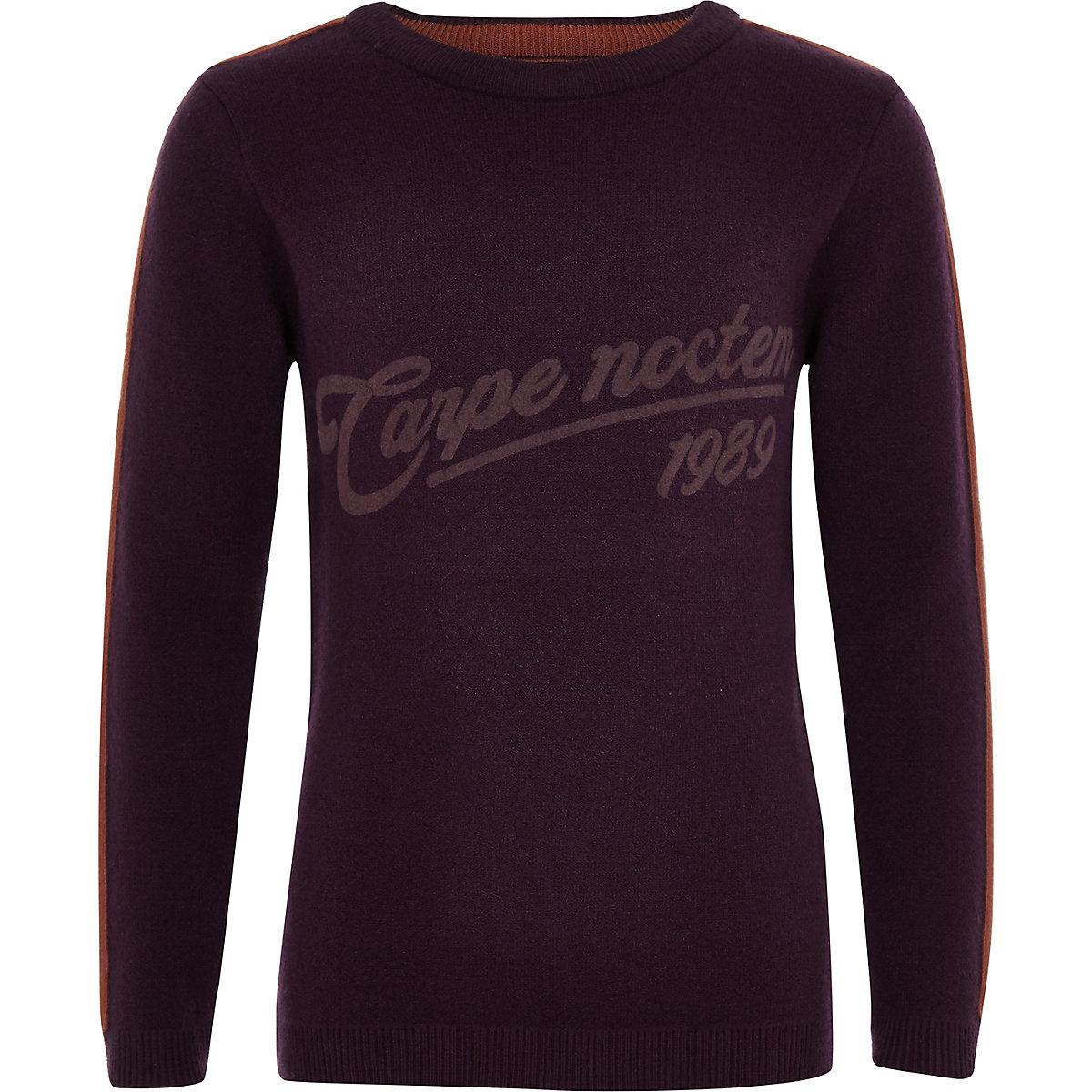 Boys purple 'Carpe noctem' jumper