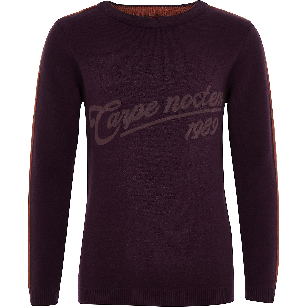 Boys purple 'Carpe noctem' sweater