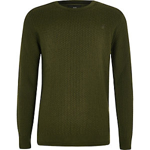 Boys khaki green textured sweater