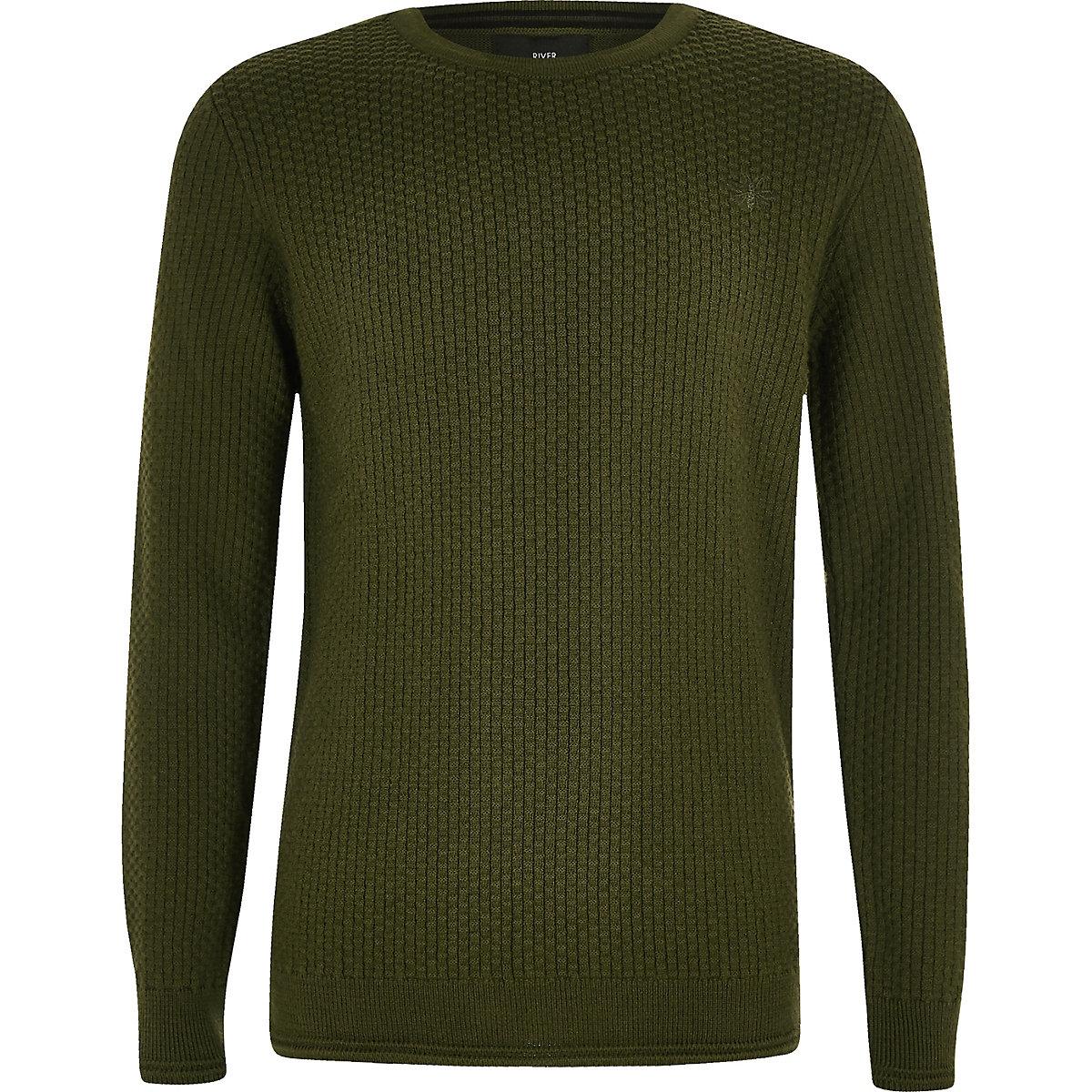 Boys khaki green textured jumper