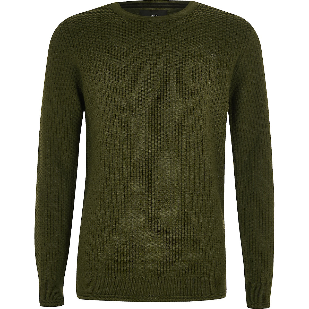 Boys khaki green textured sweater