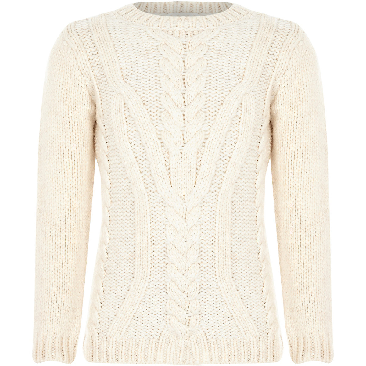 Boys ecru chunky cable knit sweater
