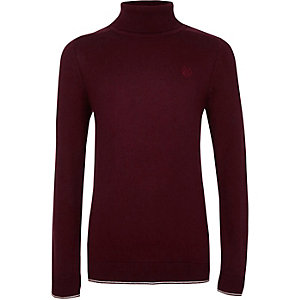 Boys dark red RI roll neck tipped sweater