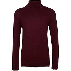 Donkerrode pullover met RI-logo, col en contrasterend randje voor jongens