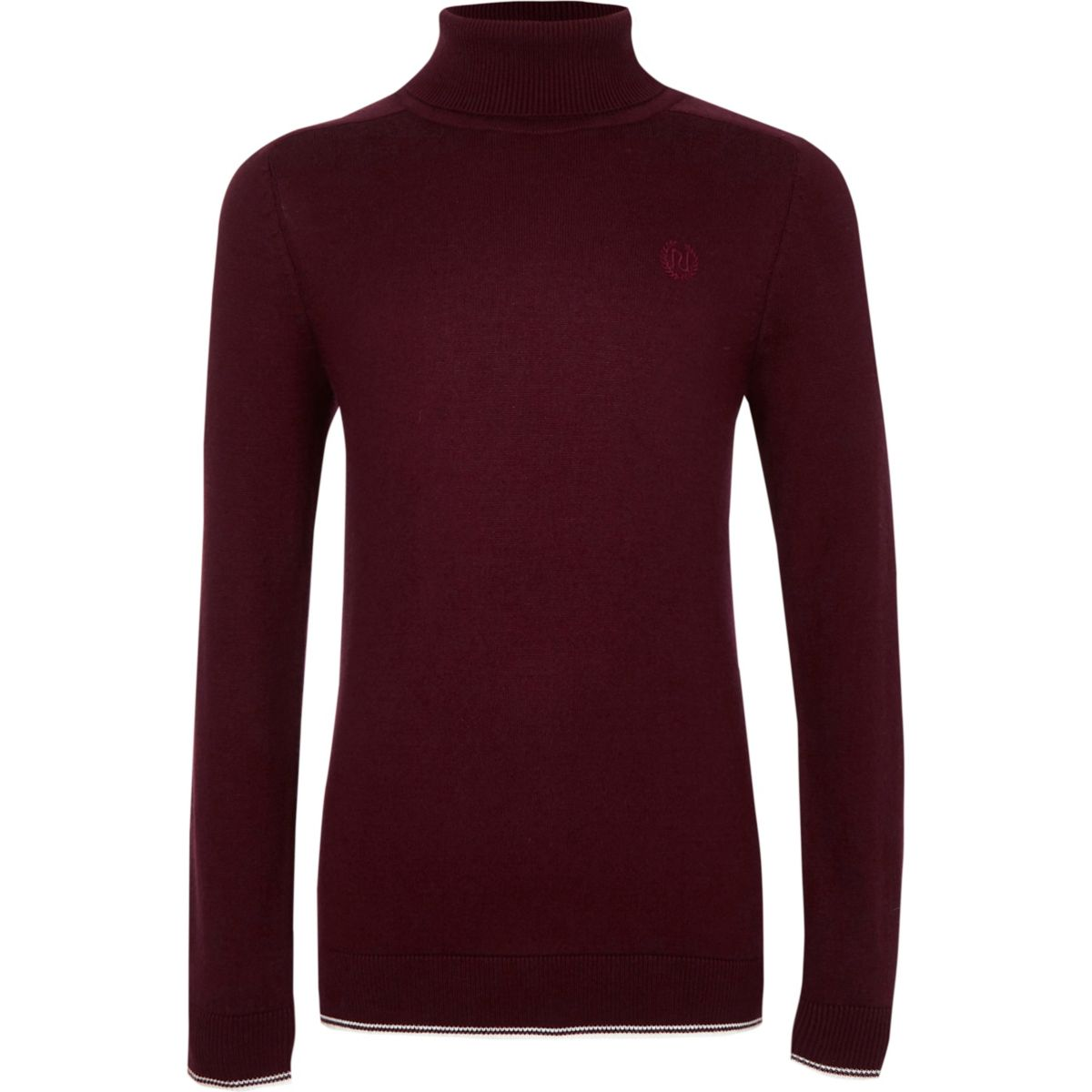 Boys dark red RI roll neck tipped sweater