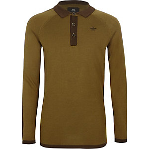 Boys khaki green long sleeve polo shirt