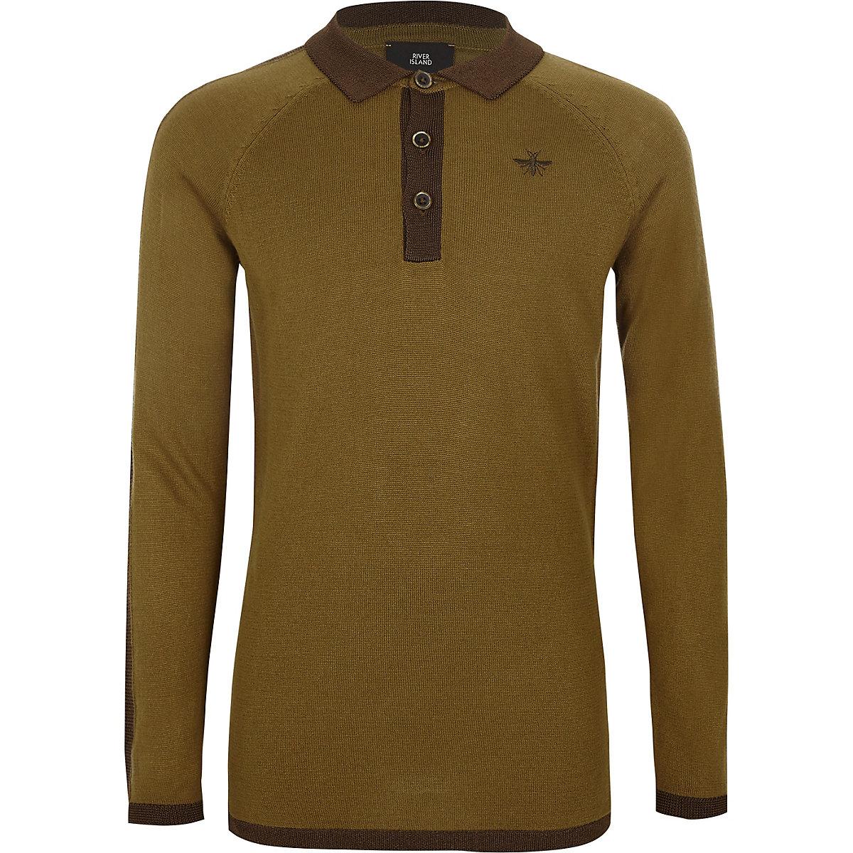Boys khaki green long sleeve polo shirt