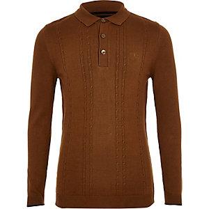 Braunes, langärmliges Polohemd mit Zopfmuster