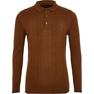 Boys brown cable knit long sleeve polo shirt
