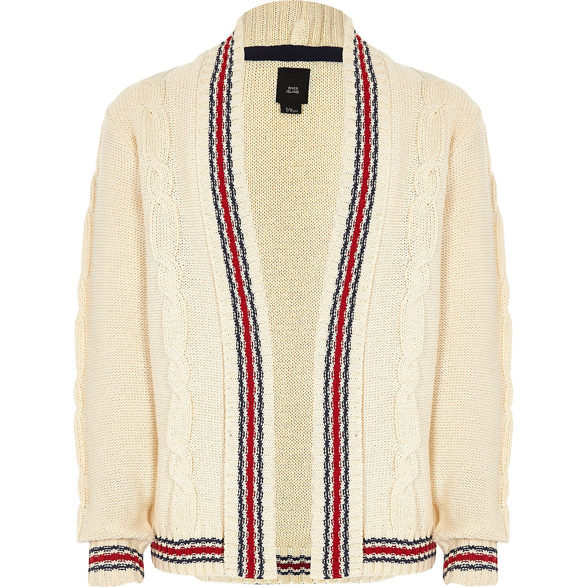 Boys cream cable contrast striped cardigan