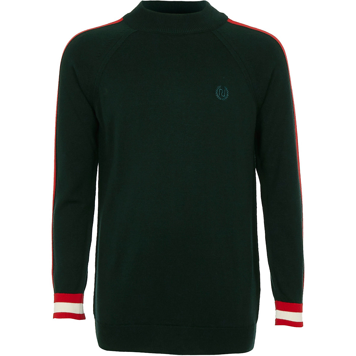 Boys green tape side tipped turtleneck sweater