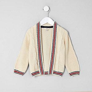 Mini - Crème vest met kabelmotief en contrasterend randje voor jongens