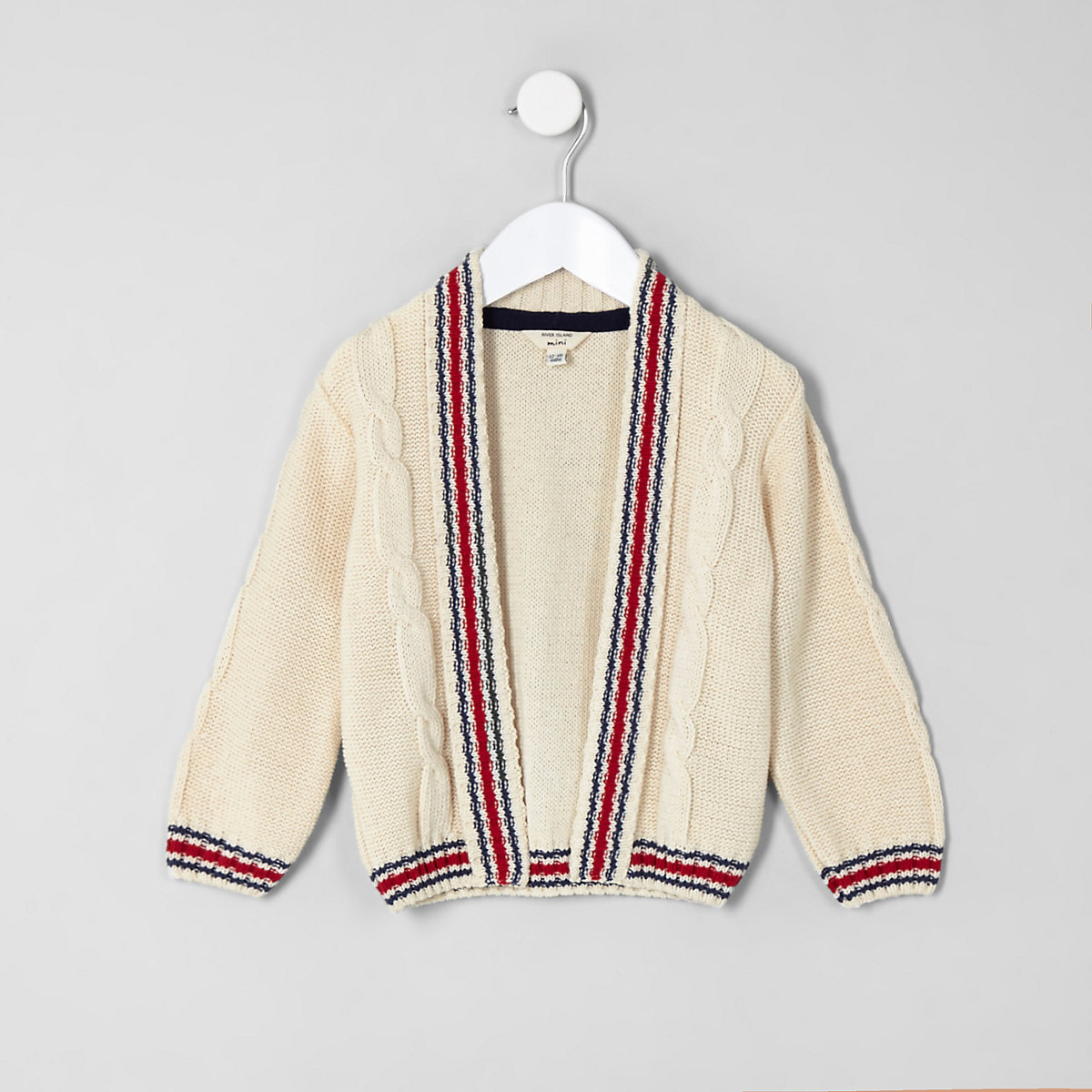 Mini boys cream tipped cable cardigan