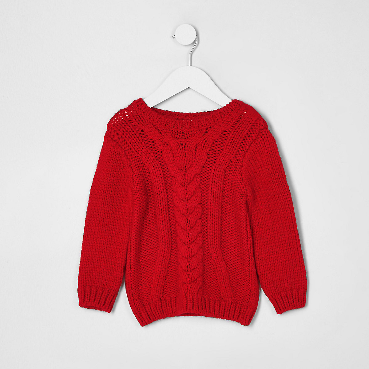 Mini boys red chunky cable knit jumper