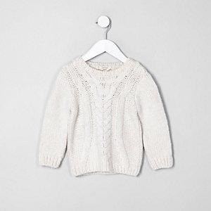 Mini - Ecru grofgebreide pullover met kabelmotief voor jongens