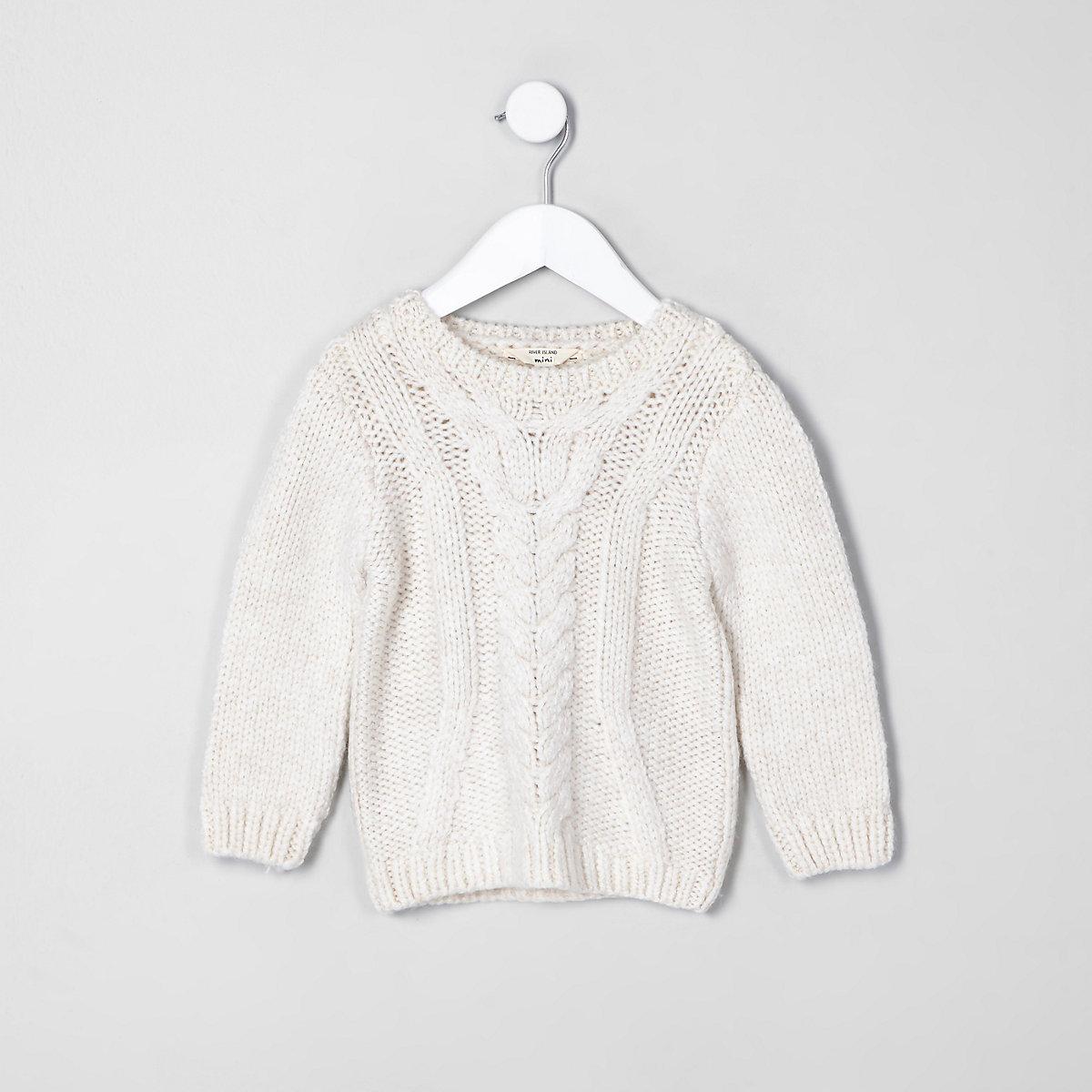 8edd6968d Mini boys ecru chunky cable knit sweater - Baby Boys Tops - Mini ...