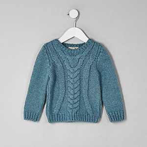 Mini boys blue chunky cable knit jumper