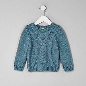 Mini - Blauwe grofgebreide pullover met kabelmotief voor jongens