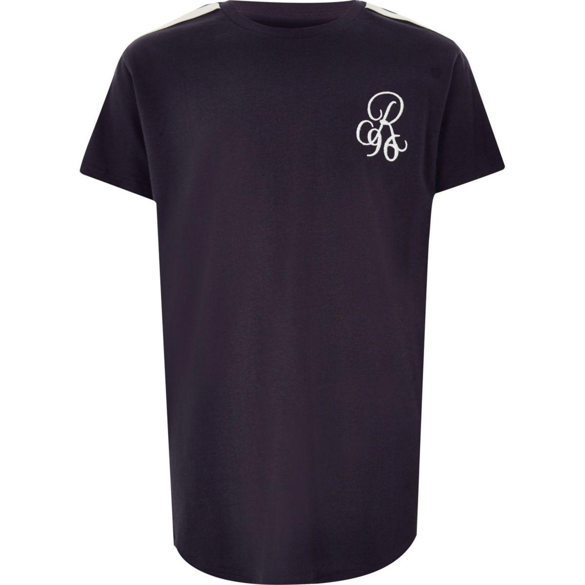 Boys navy 'R96 curve hem T-shirt