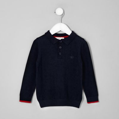 Mini Boys Navy Cable Knit Polo Shirt by River Island