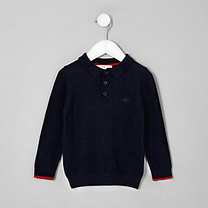 Mini boys navy cable knit polo shirt