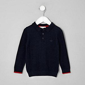 Polo en maille torsadée bleu marine mini garçon
