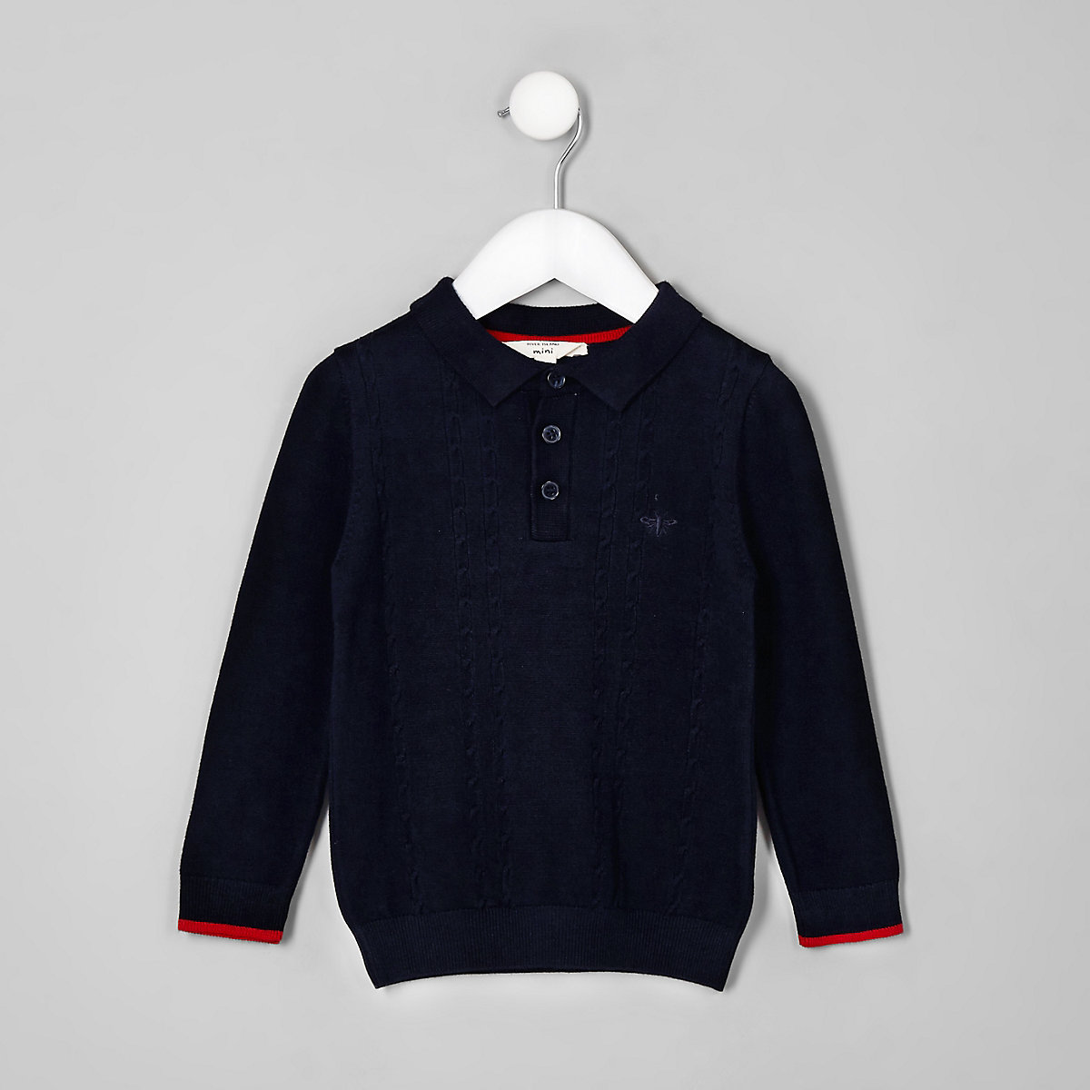 Mini boys navy cable knit polo shirt