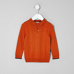 Mini boys orange cable knit polo shirt