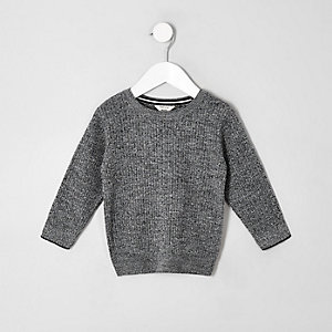 Mini boys grey knitted sweater
