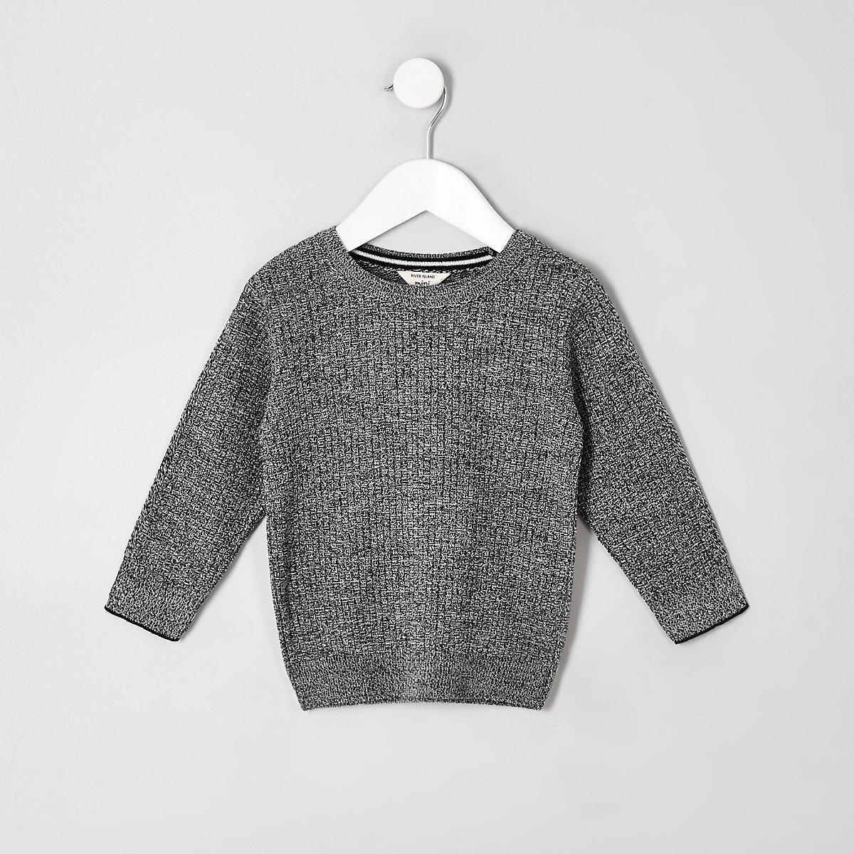 Mini boys grey knitted sweater