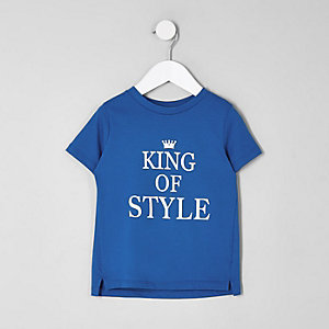 Mini boys blue 'king of style' T-shirt