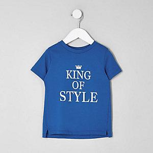 Mini - Blauw T-shirt met 'king of style'-print voor jongens