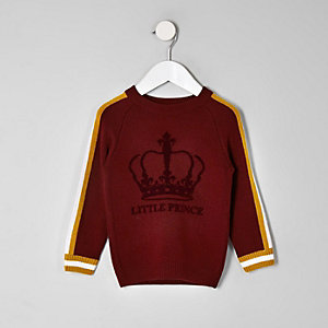 Mini boys burgundy 'Little prince' sweater