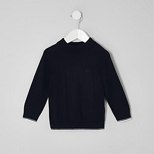 Boys navy tipped turtle neck top