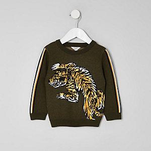 Mini boys khaki green tiger print jumper